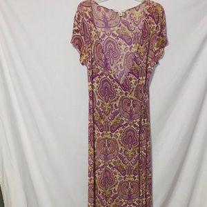 Banana Republic M Purple Paisley Wrap Dress